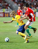Hungary vs. Sweden football game Royalty Free Stock Photo