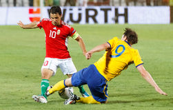 Hungary vs. Sweden football game Royalty Free Stock Photos