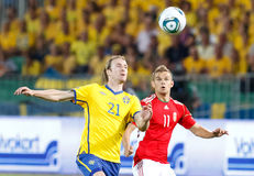 Hungary vs. Sweden football game Stock Photos