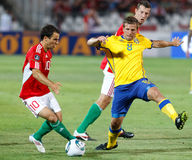 Hungary vs. Sweden football game Royalty Free Stock Images
