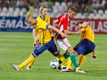 Hungary vs. Sweden football game Royalty Free Stock Photos