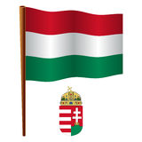 Hungary wavy flag Stock Photography