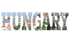 Hungary. Word - country name with background travel postcard photo Royalty Free Stock Photos
