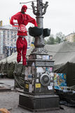 Hunged stuffed communist. Euromaidan, Kyiv after protest 10.04.2014 Royalty Free Stock Image