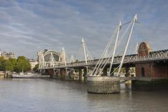 Hungeford Bridge and Golden Jubilee Bridges in the morning, Lond Stock Image