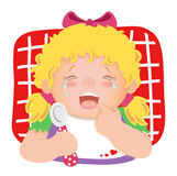 Hunger. Colored illustration of a child that cries because she is hungry Royalty Free Stock Image