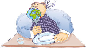 Hunger. An hunger fat man that eat the whole world royalty free illustration