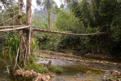 Hunger bamboo bridge Stock Photos