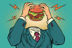 Hunger Burger instead of a head. Fast food and restaurants. Vintage pop art retro illustration Stock Photography