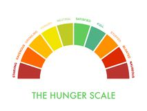 Free Hunger-fullness Scale 0 To 10 For Intuitive And Mindful Eating And Diet Control. Arch Chart Indicating Hunger Stages To Evaluate Royalty Free Stock Photos - 178956288