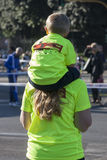 Hunger Run (Rome) - WFP - Mother and son piggy back Stock Images