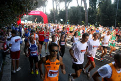 Hunger Run (Rome) - World Food Program - Crowd runners start Royalty Free Stock Photography