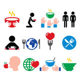 Hunger, starvation, poverty icons set Royalty Free Stock Image
