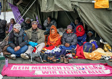 Hunger strike of refugees Stock Images