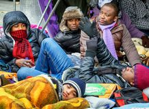 Hunger strike of refugees Stock Photography