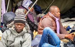 Hunger strike of refugees Royalty Free Stock Photo