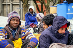 Hunger strike of refugees Stock Photo