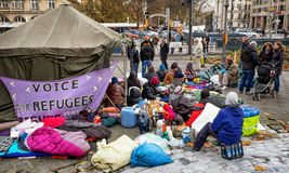 Hunger strike of refugees Stock Image