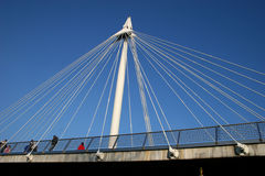 Hungerford bridge Bridge. Suspension cables of hungerford bridge London Stock Images
