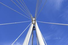 Hungerford Bridge and Golden Jubilee Bridges on Thames River, details of construction,  London, United Kingdom.  Stock Photography