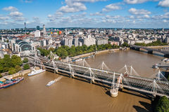 Hungerford bridge from London Eye Royalty Free Stock Photo