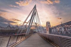 Hungerford Bridge in London. A shot of Hungerford Bridge in sunset Stock Photography