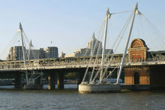 The Hungerford Bridge over the River Thames, London, UK Stock Photos