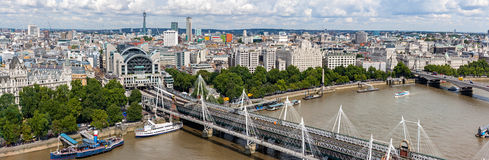 Hungerford bridge panorama in London Royalty Free Stock Images