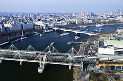 Hungerford Bridge seen from London Eye. In England Stock Photography