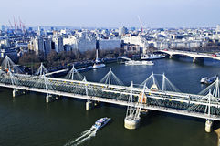 Hungerford Bridge seen from London Eye. In England Stock Photo