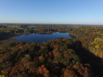 Hungerford Lake. Aerial view of Hungerford Lake in the beautiful Manistee Forest Stock Image