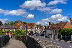 Hungerford in Summer time. BERKSHIRE,ENGLAND-AUGUST 3,2016 :  People enjoyed walking in a historic town of Hungerford in summer Stock Images