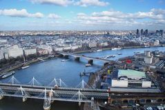 Hungerford and Waterloo Bridges on the Thames Royalty Free Stock Images