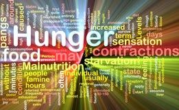 Hungerhintergrund-Konzeptglühen Stockfoto