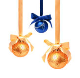 Hunging golden ahd blue christmas balls isolated Stock Photo
