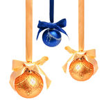 Hunging golden ahd blue christmas balls isolated Royalty Free Stock Photo