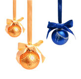 Hunging golden ahd blue christmas balls isolated Royalty Free Stock Photography