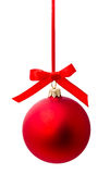 Hunging red christmas ball isolated Stock Photography