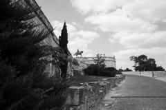 Hungría, Budapest, Buda Castle, estatua de príncipe Eugene de la col rizada fotografía de archivo