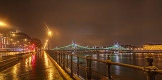 Hungría, Budapest, Liberty Bridge - imagen de la noche fotos de archivo
