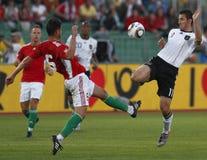 Hungría contra el partido de fútbol cómodo de Alemania Fotos de archivo libres de regalías