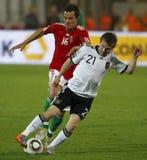 Hungría contra el partido de fútbol cómodo de Alemania Fotografía de archivo