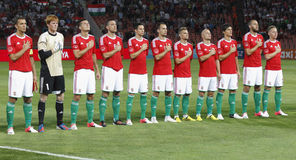 Hungría contra el partido de fútbol cómodo de Israel Imagenes de archivo