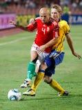 Hungría contra el partido de fútbol de Suecia Imagen de archivo libre de regalías