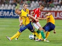 Hungría contra el partido de fútbol de Suecia Fotos de archivo libres de regalías