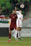 Hungría contra Países Bajos Partido de fútbol amistoso de Rusia Imágenes de archivo libres de regalías