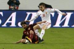 Hungría contra Países Bajos Partido de fútbol amistoso de Rusia Imagenes de archivo