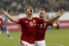 Hungría contra Países Bajos Partido 2016 de fútbol del calificador del euro de la UEFA de Finlandia imagen de archivo