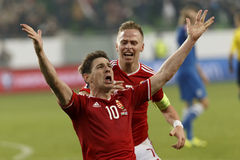 Hungría contra Países Bajos Partido 2016 de fútbol del calificador del euro de la UEFA de Finlandia Foto de archivo libre de regalías