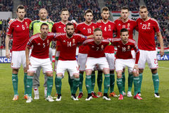 Hungría contra Países Bajos Partido 2016 de fútbol del calificador del euro de la UEFA de Grecia Imagen de archivo libre de regalías